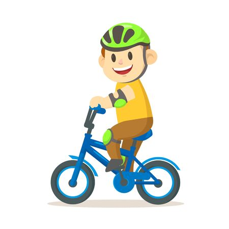 Smiling boy in the helmet riding a bicycle.