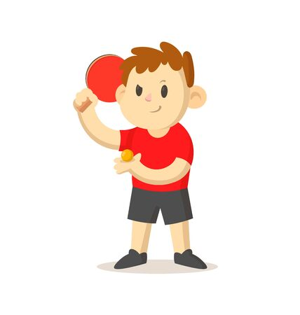 Young table tennis player with a racket standing. Illustration