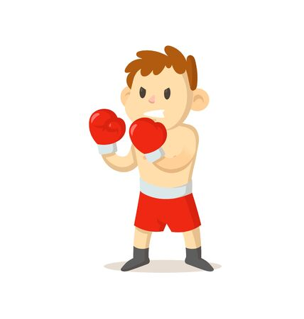 Boxer boy in boxing gloves standing.