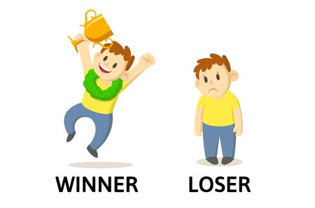 Words WINNER and LOSER flashcard with text cartoon characters.
