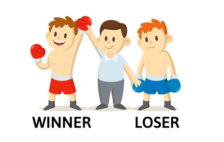 Words WINNER and LOSER flashcard with text cartoon characters. Opposite nouns explanation card. Flat vector illustration, isolated on white background.