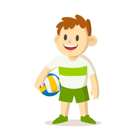 Happy smiling boy holding a volleyball.