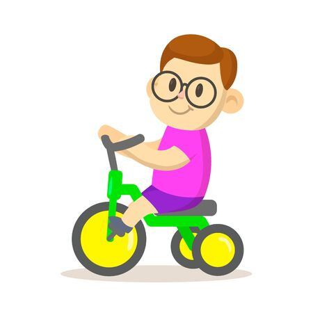 Smiling boy riding a bicycle isolated on white