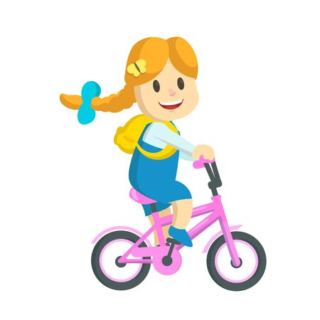 Happy little girl with backpack riding pink bicycle.