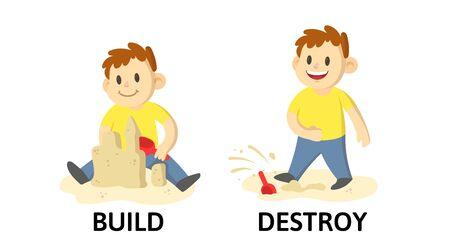 Words BUILD and DESTROY flashcard with text cartoon characters. Illustration