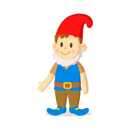 Cartoon kid dressed as gnome for holiday. Colorful flat vector illustration, isolated on white background.