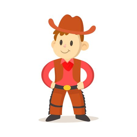 Cartoon cowboy kid wearing vest and hat isolated on white Illustration