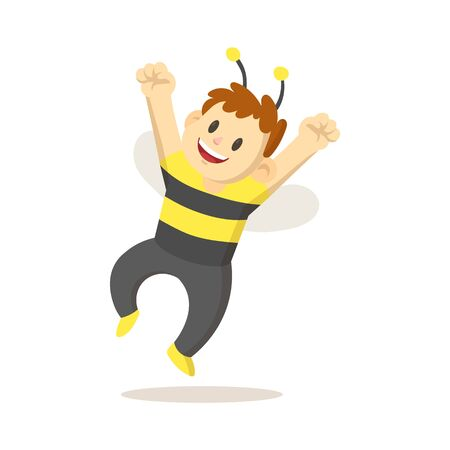 Smiling cartoon kid dressed as a bee for holiday jumps for joy. Flat vector illustration, isolated on white background.
