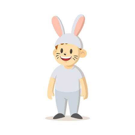 Smiling cartoon kid dressed as a bunny isolated on white