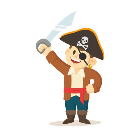 Cartoon pirate kid with sword and pirate hat. Colorful flat vector illustration, isolated on white background. Illustration