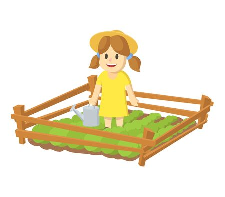 Cartoon girl wearing straw hat holding watering can and growing plants in garden beds. Homegrown vegetables, eco friendly farming. Colorful flat vector illustration, isolated on white background. Ilustracja