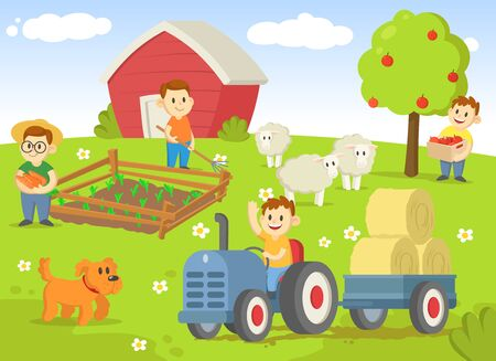 Life on a farm with field, trees, tractor, shed, and animals.