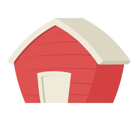 Red cartoon barn. Colorful flat vector illustration, isolated on white background. Illustration