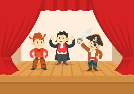 Cartoon boys in costumes performing on the stage of the theater. The play in the kindergarten. Colorful flat vector illustration, isolated on white background.