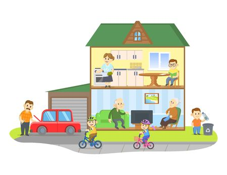 Two-storie house model cross section with people in it. Rooms with furniture, detailed interior. Colorful flat vector illustration, isolated on white background. Иллюстрация