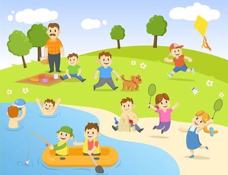 Summertime in public park. Different recreation outdoor activities. Camping, playing, picnic, swimming. Colorful flat vector illustration.