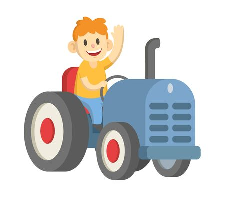 Smiling farmer driving big wheeled tractor and waving hello. Flat vector illustration, isolated on white background. Illustration