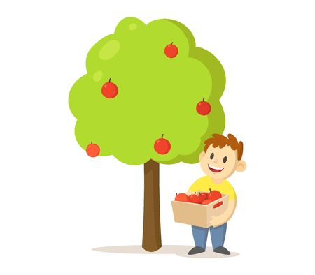 Smiling boy holding a box full of apples standing under the apple tree isolated on white Illustration