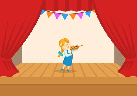 Funny little girl playing violin on the stage of the theater. The play in the kindergarten. Colorful flat vector illustration, isolated on white background.