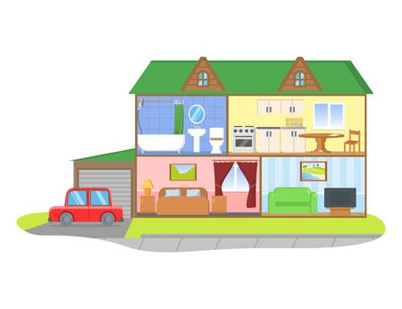 Two-storie house model cross section. Rooms with furniture, detailed interior. Colorful flat vector illustration, isolated on white background. Иллюстрация