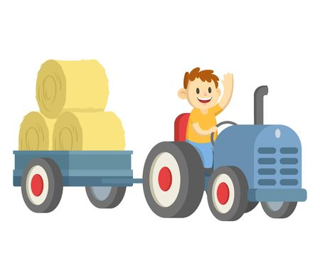 Smiling cartoon farmer character driving big wheeled tractor with a trailer of hay. Flat vector illustration, isolated on white background. Illustration