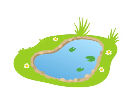 Cartoon garden pond, small lake in flat style, landscape design element. Colorful flat vector illustration. Isolated on white background.