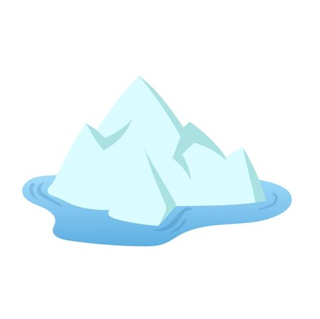 One iceberg floating in the sea, tip of the iceberg. Landscape design element in flat style. Colorful flat vector illustration. Isolated on white background.