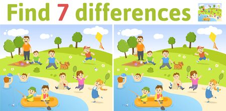 Find the differences in two colored pictures. Children riddle game with characters playing in the park by the lake. English language education sheet. Colorful flat illustration.