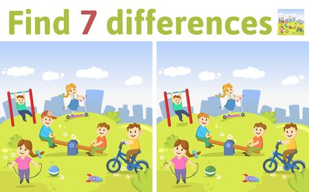 Find the differences in two colored pictures. Children riddle game with kids playing at the playground. English language educational game sheet. Colorful flat illustration. Çizim