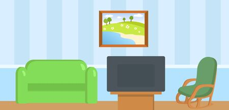 Modern living room interior with furniture. Colorful flat vector illustration.