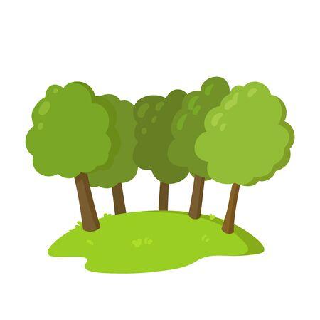 Group of trees on the hill, flat style landscape design element. Colorful flat vector illustration. Isolated on white background. Ilustração
