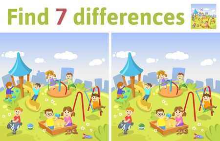Find the differences in two colored pictures. Children riddle game with kids playing at the playground. English language educational game sheet. Colorful flat illustration.