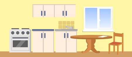 Modern kitchen interior background with furniture and accessories. Colorful flat  illustration.