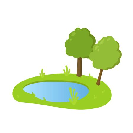 Cartoon lake with green grass and trees on the banks, flat style landscape design element. Colorful flat vector illustration. Isolated on white background. Ilustração