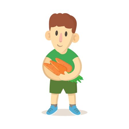 Happy boy farmer holding bunch of carrots. Colorful flat vector illustration, isolated on white background.