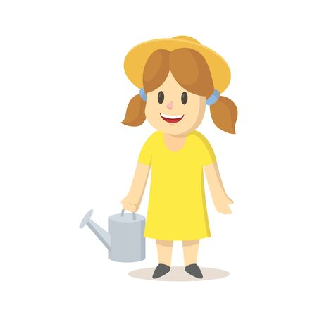 Girl in a straw hat and yellow dress holding watering can. Colorful flat vector illustration, isolated on white background.