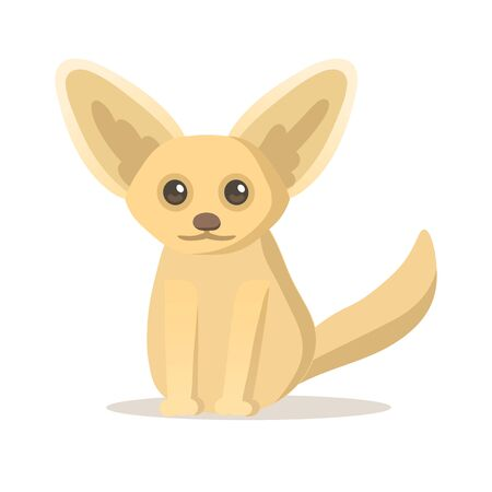 Cute fox sitting on the floor. Colorful flat illustration, isolated on white background.