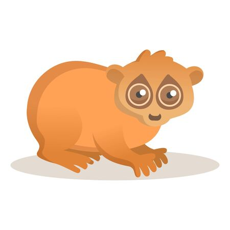 Cute loris sitting. Colorful flat  illustration, isolated on white background. Çizim