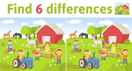 Find the differences in two colored pictures. Children riddle game with farm scene and characters. English language education sheet. Colorful flat illustration.