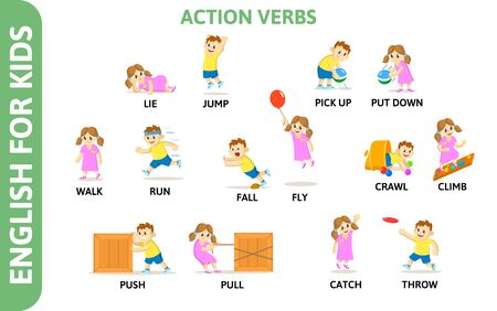 English for kids playcard. Action verbs with playing characters. Word card for english language learning. Colorful flat vector illustration.