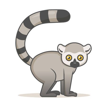 Cute African lemur. Colorful flat vector illustration with outline, isolated on white background.