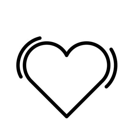 Heart, simple black and white outline icon. 일러스트