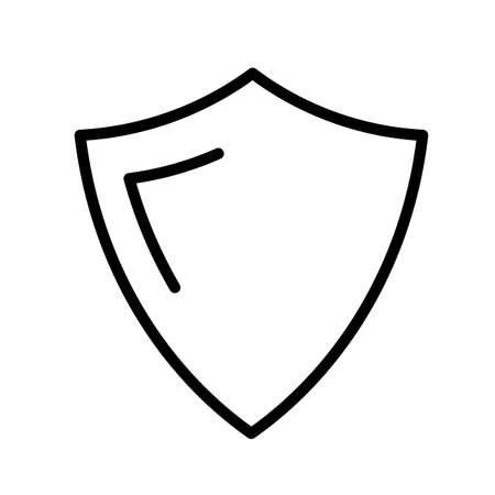 Shield, simple black and white outline icon. Safety, protection.