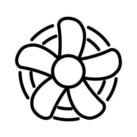 Rotating fan minimal black and white outline icon.