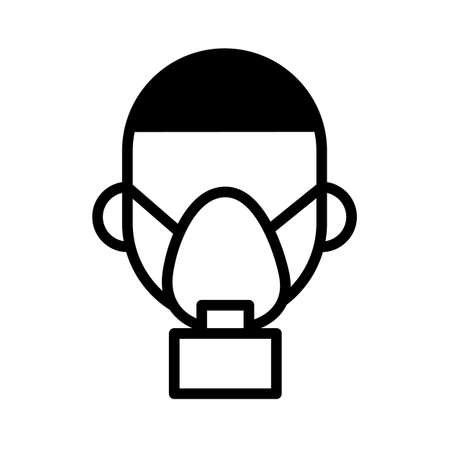 Man in respirator, gas mask. Minimal black and white outline icon.