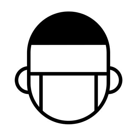 Man with medical mask. Protective face mask, minimal black and white outline icon. 일러스트