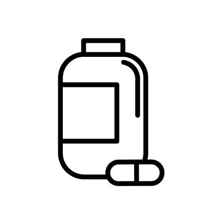 Pills bottle simple black and white outline icon. 일러스트