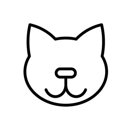 Cat simple black and white outline icon.
