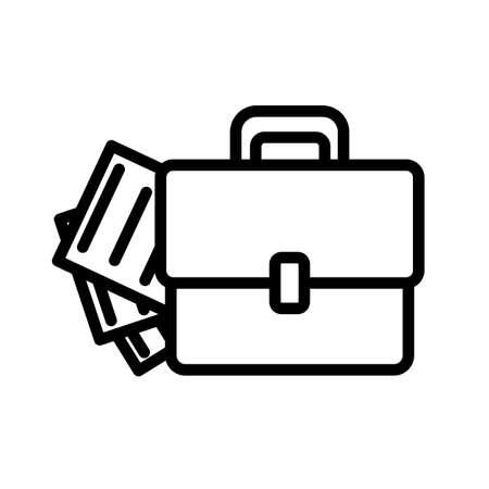 Briefcase and document simple black and white outline icon.
