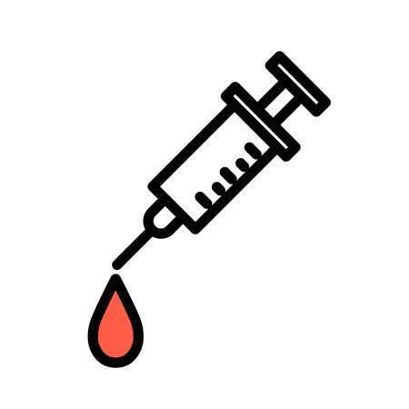 Syringe with a blood drop, minimal black and white outline icon. 일러스트